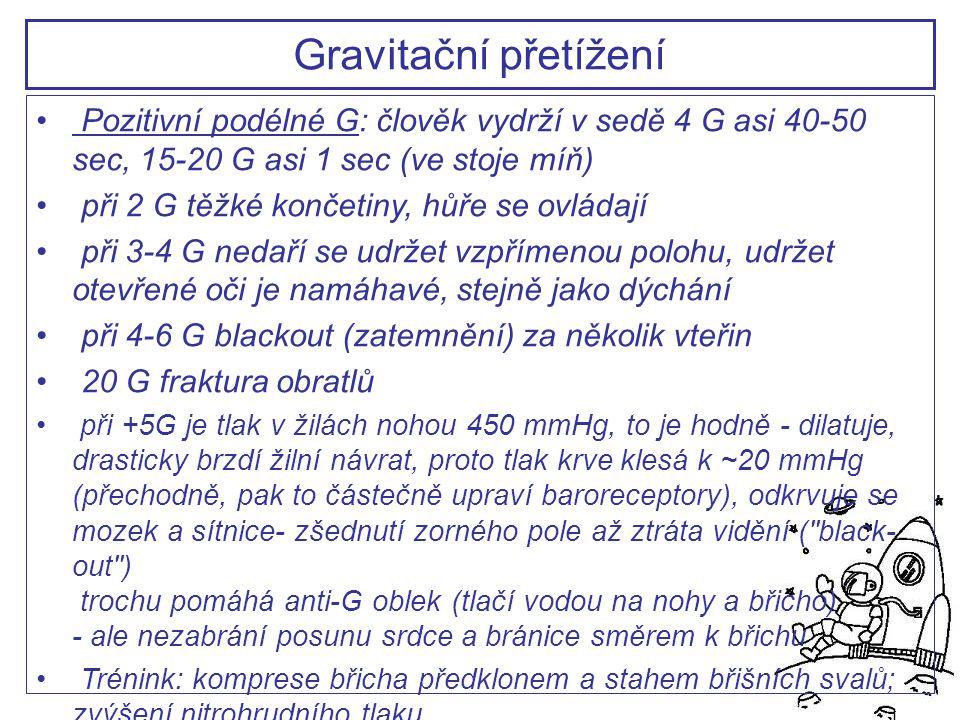 Gravitační přetížení Pozitivní podélné G: člověk vydrží v sedě 4 G asi 40-50 sec, 15-20 G asi 1 sec (ve stoje míň)