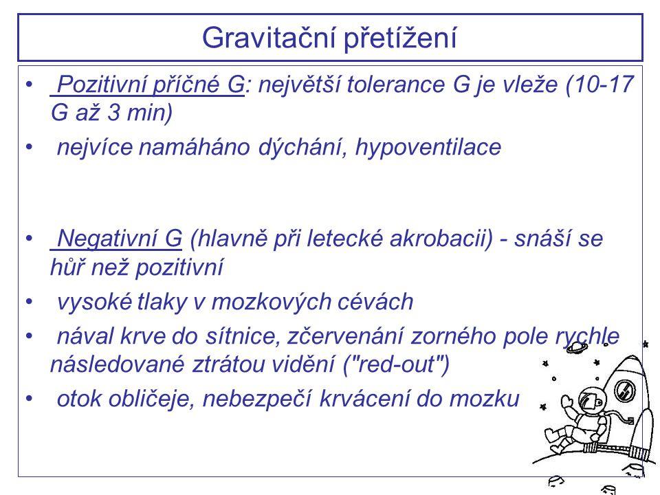 Gravitační přetížení Pozitivní příčné G: největší tolerance G je vleže (10-17 G až 3 min) nejvíce namáháno dýchání, hypoventilace.