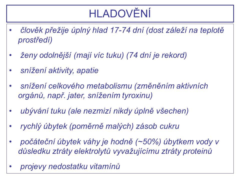 HLADOVĚNÍ člověk přežije úplný hlad 17-74 dní (dost záleží na teplotě prostředí) ženy odolnější (mají víc tuku) (74 dní je rekord)