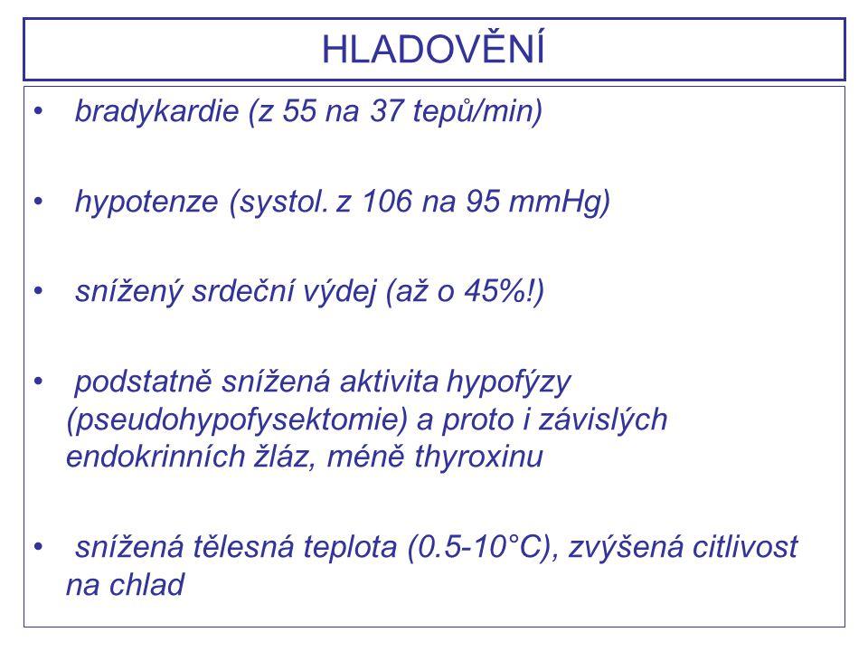 HLADOVĚNÍ bradykardie (z 55 na 37 tepů/min)
