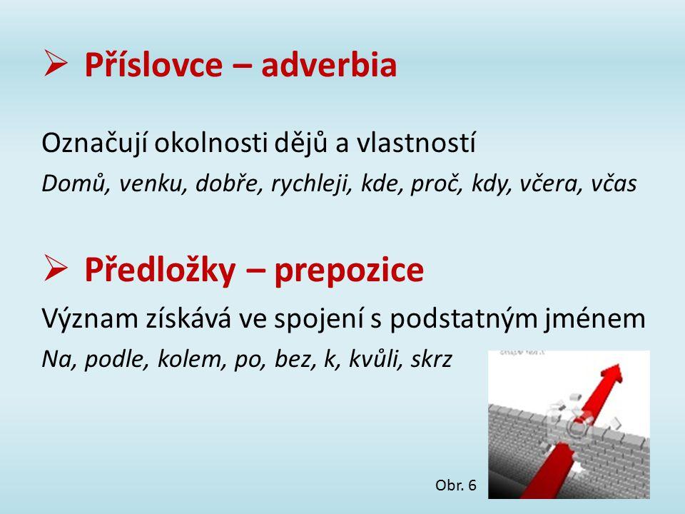 Příslovce – adverbia Předložky – prepozice