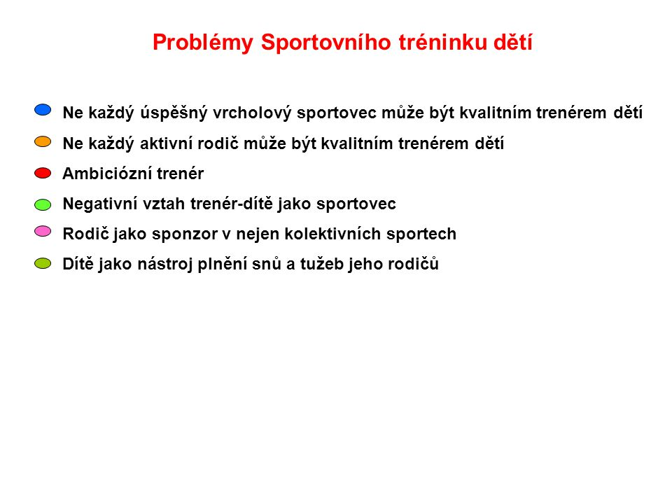 Problémy Sportovního tréninku dětí