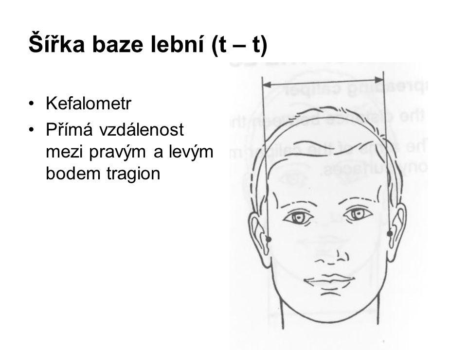 Šířka baze lební (t – t) Kefalometr
