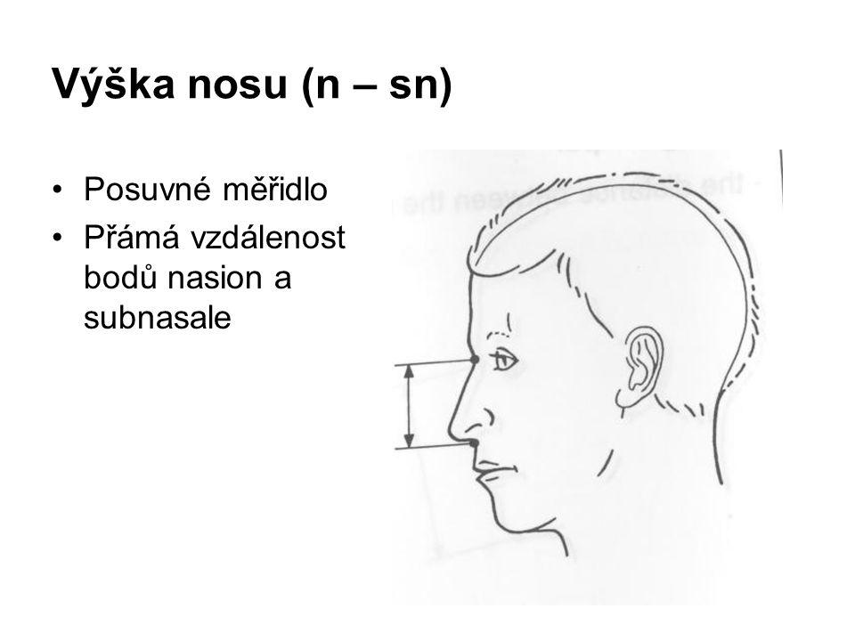 Výška nosu (n – sn) Posuvné měřidlo