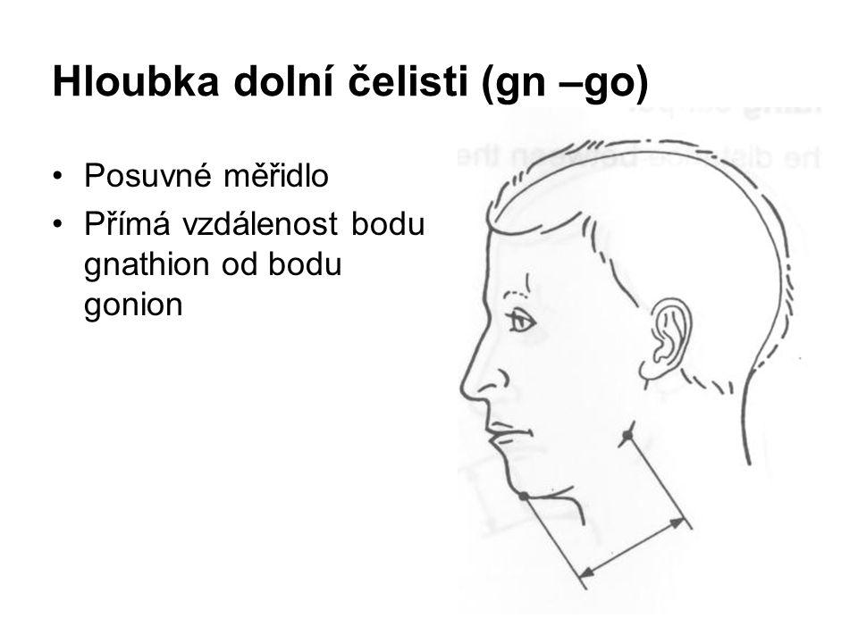 Hloubka dolní čelisti (gn –go)