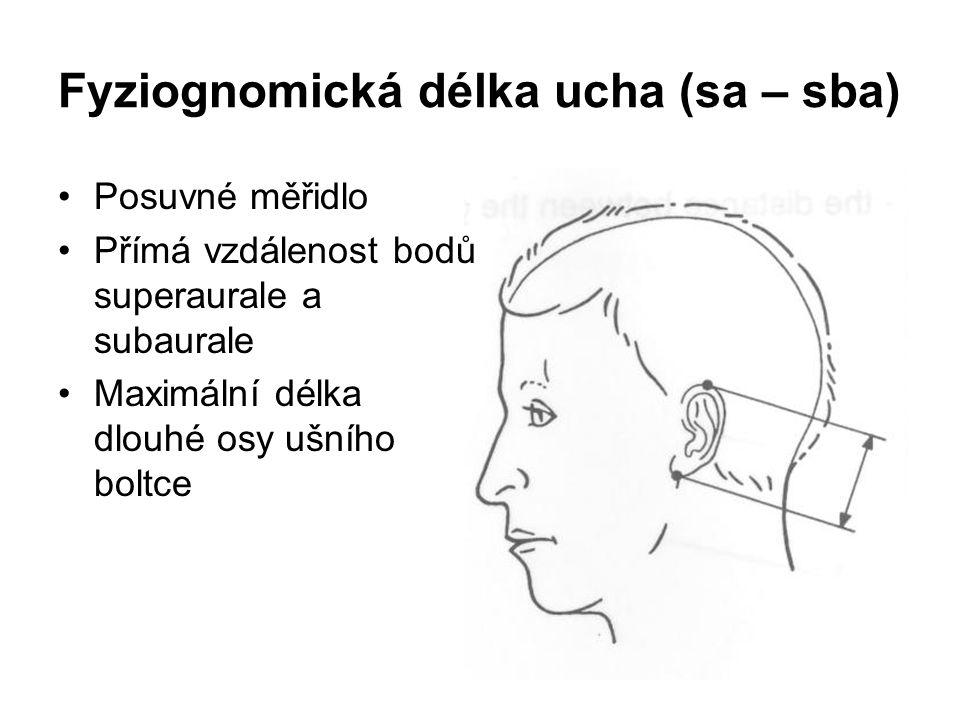 Fyziognomická délka ucha (sa – sba)