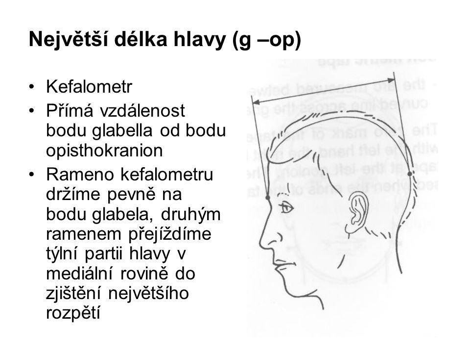Největší délka hlavy (g –op)
