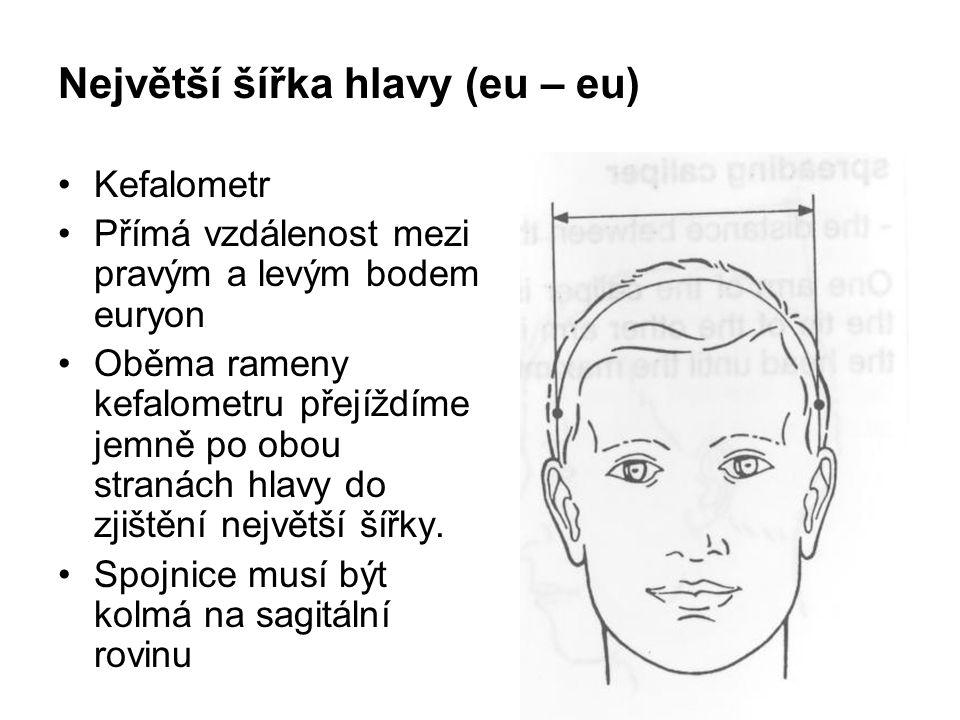 Největší šířka hlavy (eu – eu)