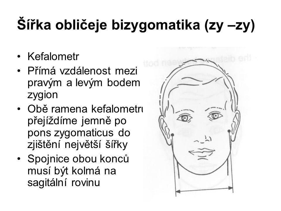 Šířka obličeje bizygomatika (zy –zy)