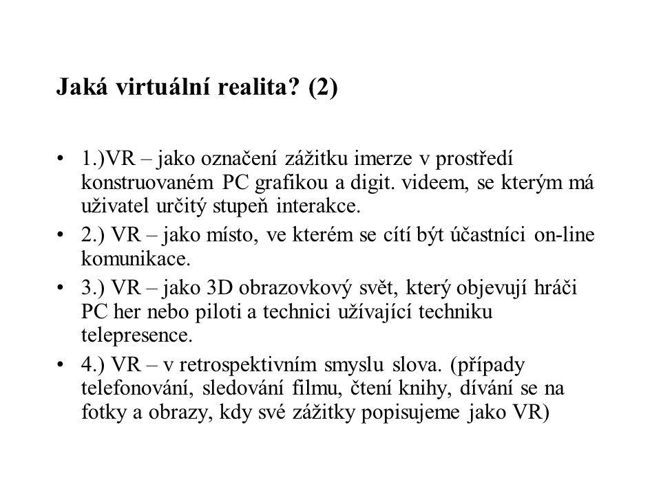 Jaká virtuální realita (2)