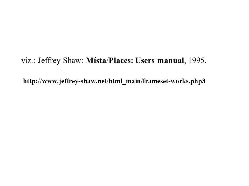 viz.: Jeffrey Shaw: Místa/Places: Users manual, 1995.