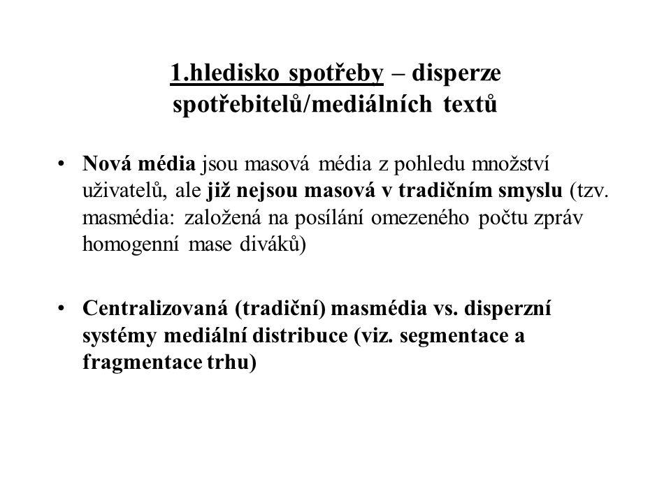 1.hledisko spotřeby – disperze spotřebitelů/mediálních textů