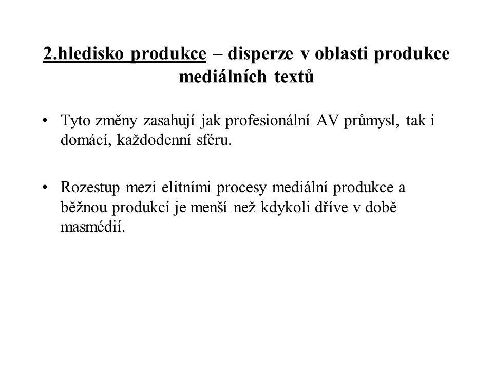2.hledisko produkce – disperze v oblasti produkce mediálních textů