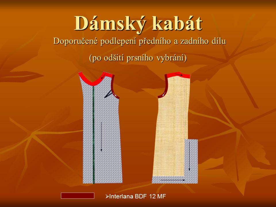 Dámský kabát Doporučené podlepení předního a zadního dílu