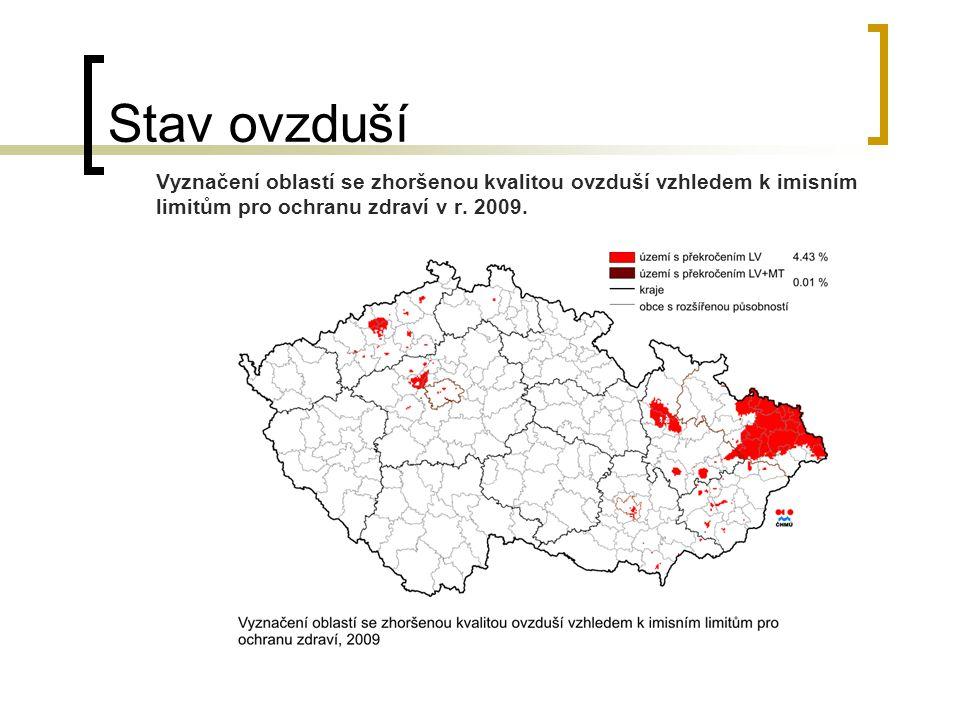 Stav ovzduší Vyznačení oblastí se zhoršenou kvalitou ovzduší vzhledem k imisním limitům pro ochranu zdraví v r. 2009.