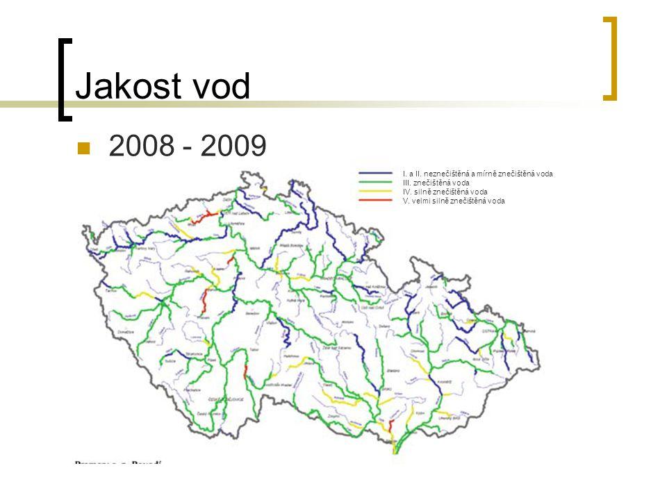 Jakost vod 2008 - 2009 I. a II. neznečištěná a mírně znečištěná voda