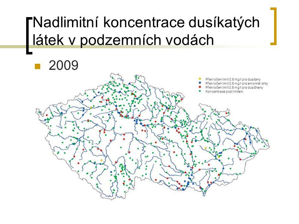 Nadlimitní koncentrace dusíkatých látek v podzemních vodách