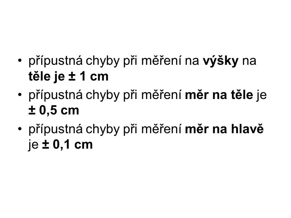 přípustná chyby při měření na výšky na těle je ± 1 cm