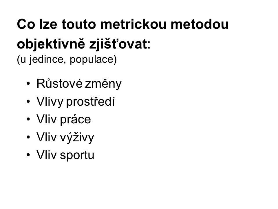 Co lze touto metrickou metodou objektivně zjišťovat: (u jedince, populace)