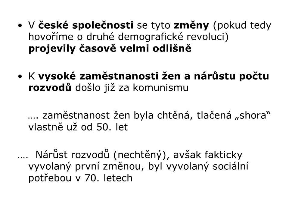 V české společnosti se tyto změny (pokud tedy hovoříme o druhé demografické revoluci) projevily časově velmi odlišně