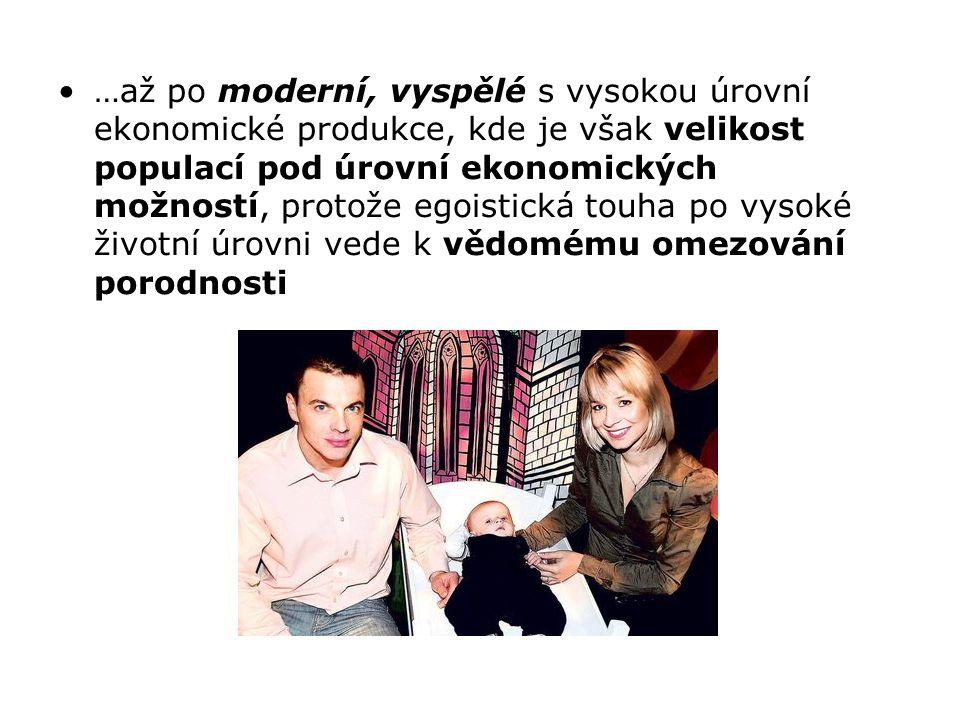 …až po moderní, vyspělé s vysokou úrovní ekonomické produkce, kde je však velikost populací pod úrovní ekonomických možností, protože egoistická touha po vysoké životní úrovni vede k vědomému omezování porodnosti