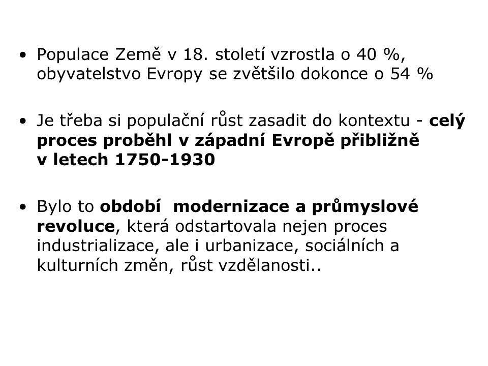 Populace Země v 18. století vzrostla o 40 %, obyvatelstvo Evropy se zvětšilo dokonce o 54 %