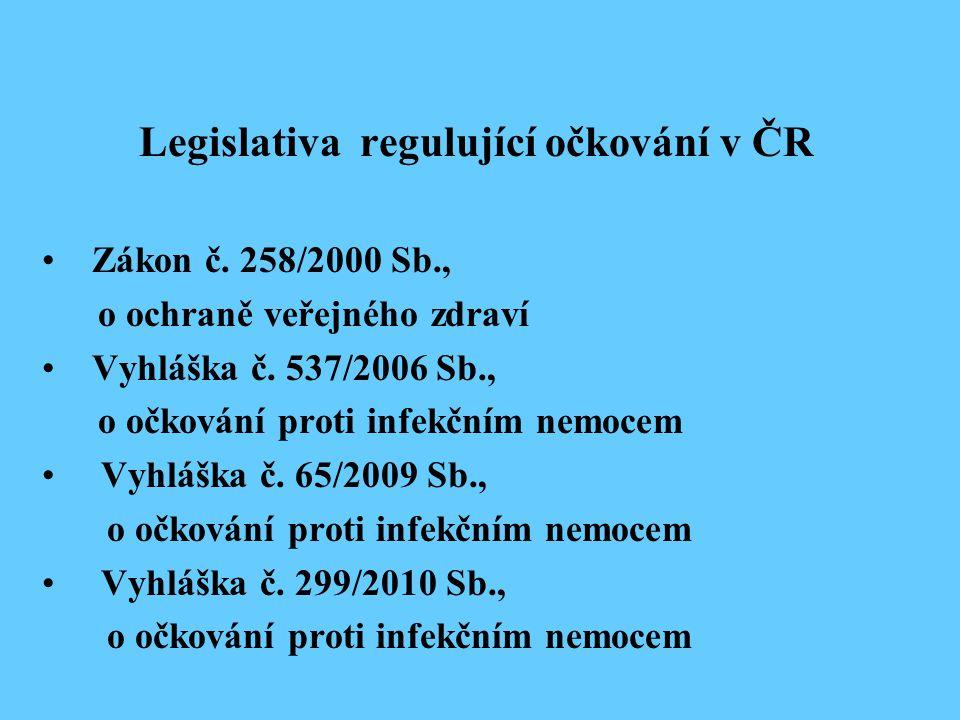 Legislativa regulující očkování v ČR