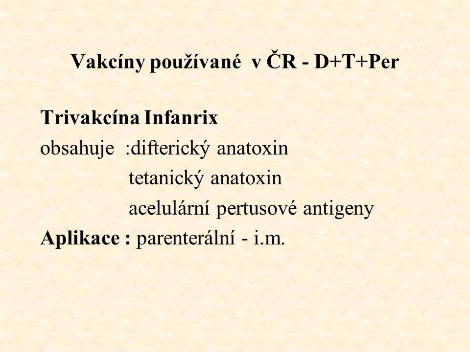 Vakcíny používané v ČR - D+T+Per