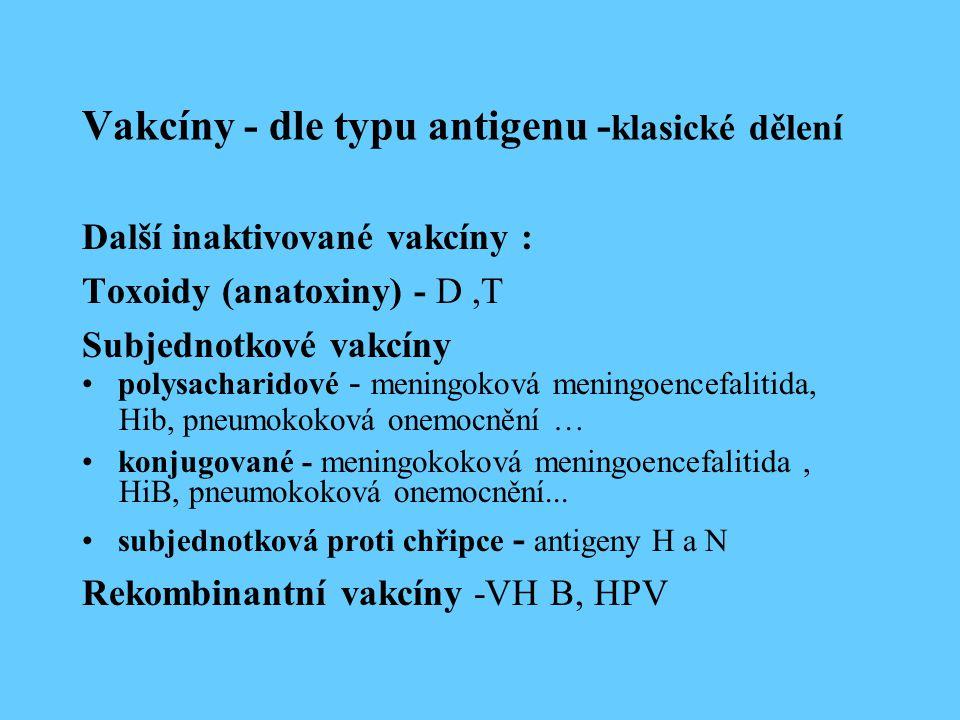 Vakcíny - dle typu antigenu -klasické dělení