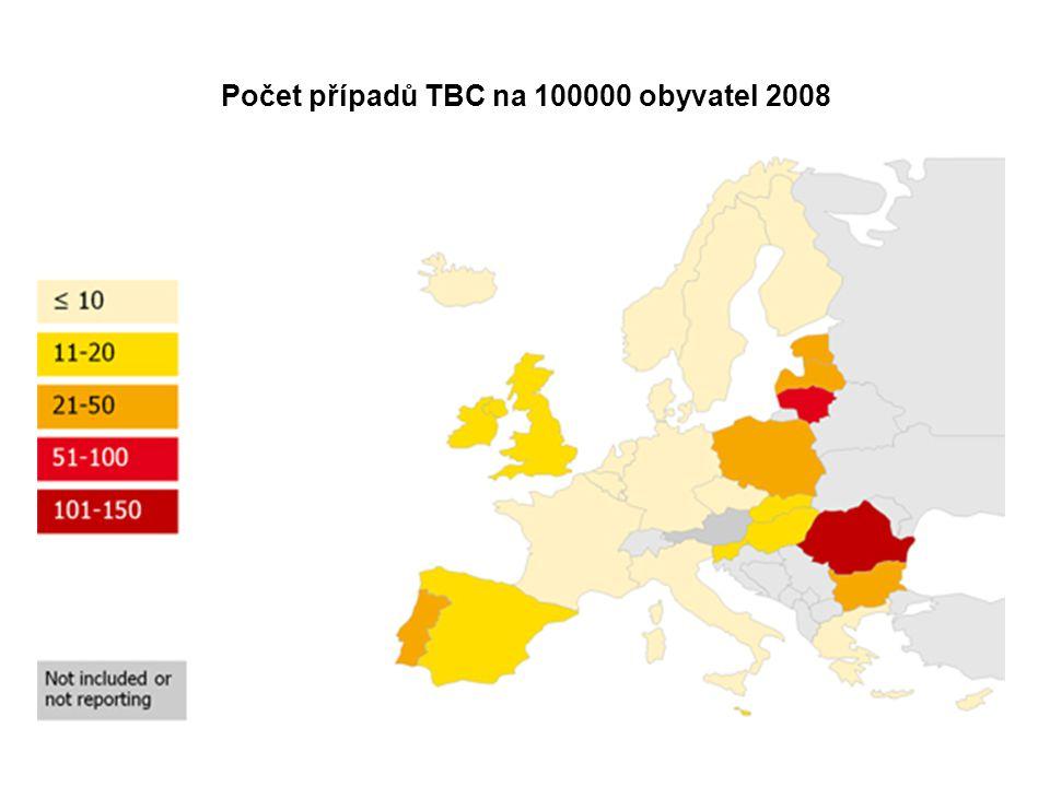 Počet případů TBC na 100000 obyvatel 2008