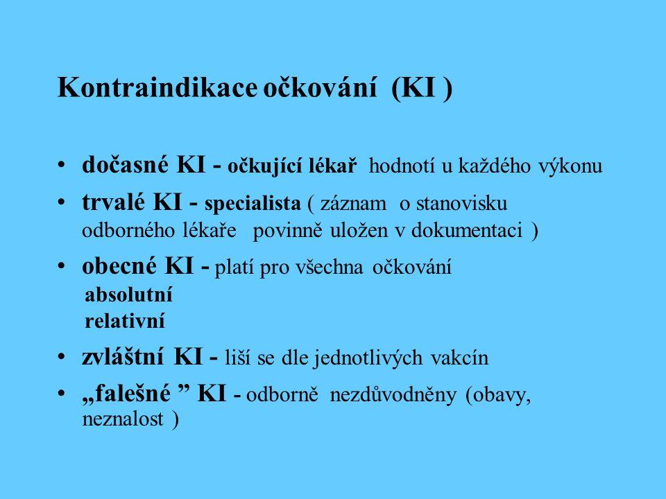 Kontraindikace očkování (KI )