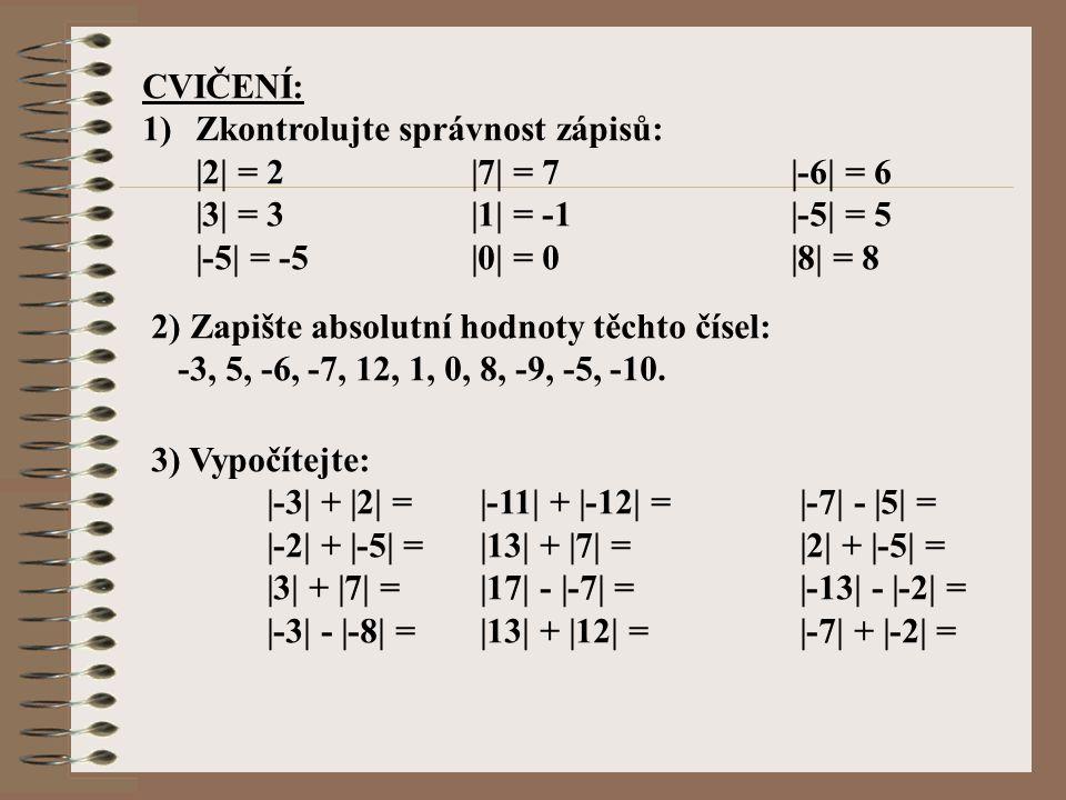 CVIČENÍ: Zkontrolujte správnost zápisů: |2| = 2 |7| = 7 |-6| = 6. |3| = 3 |1| = -1 |-5| = 5.