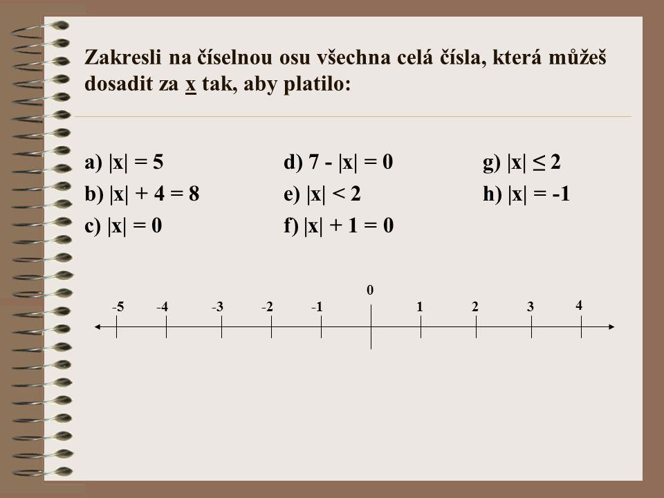 b) |x| + 4 = 8 e) |x| < 2 h) |x| = -1 c) |x| = 0 f) |x| + 1 = 0