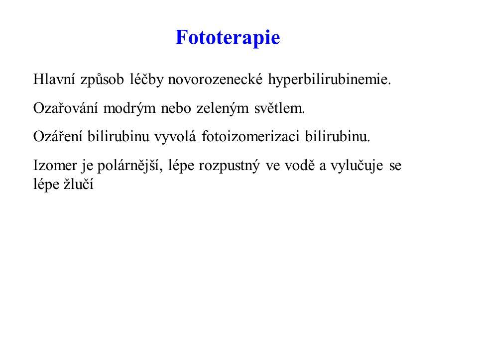 Fototerapie Hlavní způsob léčby novorozenecké hyperbilirubinemie.