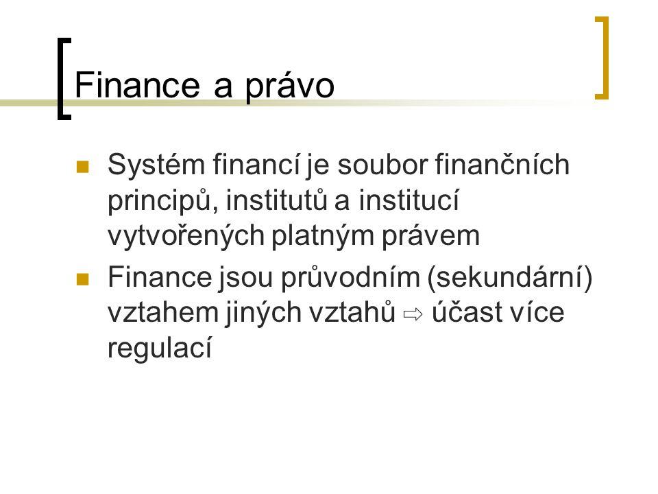 Finance a právo Systém financí je soubor finančních principů, institutů a institucí vytvořených platným právem.