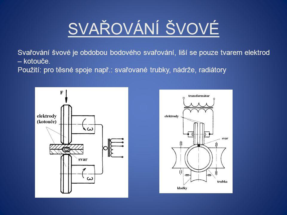 Svařování švové Svařování švové je obdobou bodového svařování, liší se pouze tvarem elektrod – kotouče.