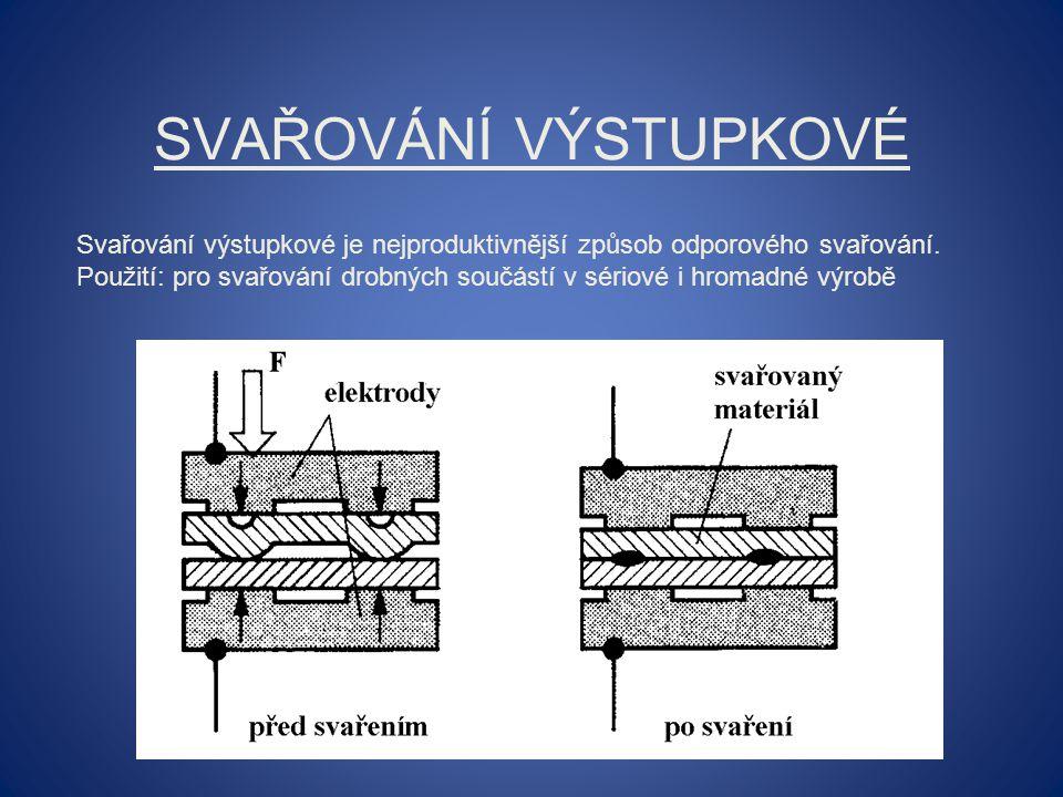 Svařování výstupkové Svařování výstupkové je nejproduktivnější způsob odporového svařování.