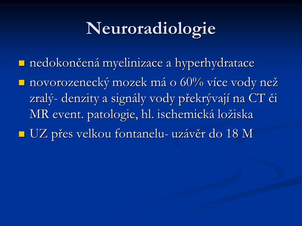 Neuroradiologie nedokončená myelinizace a hyperhydratace
