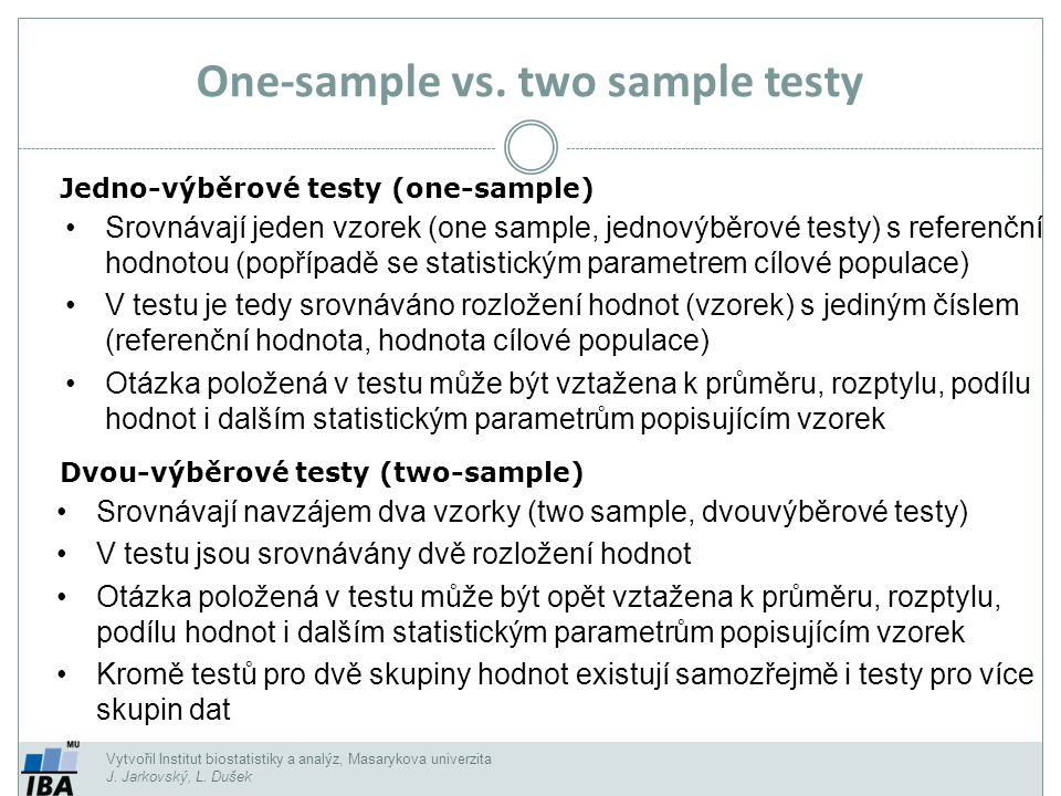 One-sample vs. two sample testy