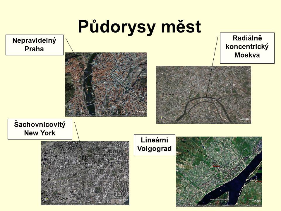 Radiálně koncentrický Moskva Šachovnicovitý New York