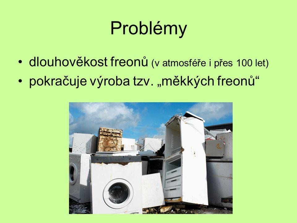 Problémy dlouhověkost freonů (v atmosféře i přes 100 let)
