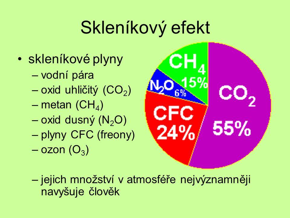 Skleníkový efekt skleníkové plyny vodní pára oxid uhličitý (CO2)