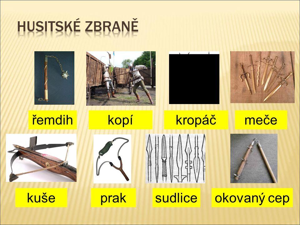 husitské zbraně řemdih kopí kropáč meče kuše prak sudlice okovaný cep