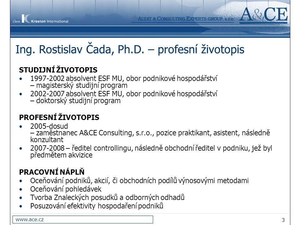 Ing. Rostislav Čada, Ph.D. – profesní životopis