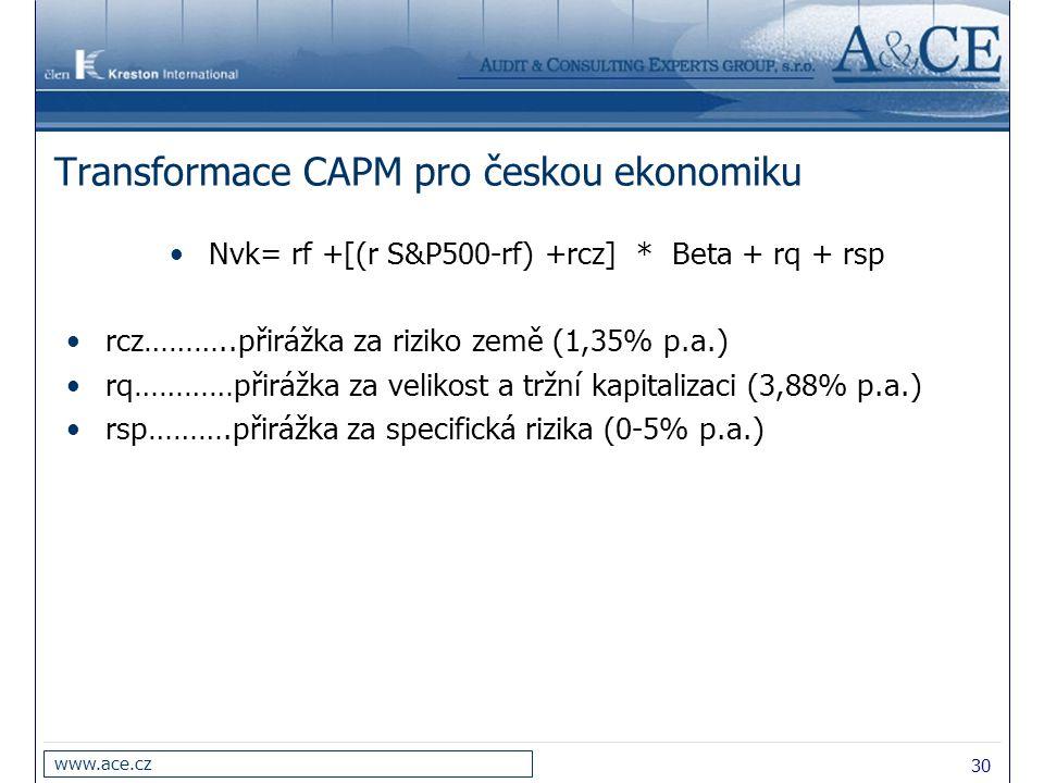 Transformace CAPM pro českou ekonomiku