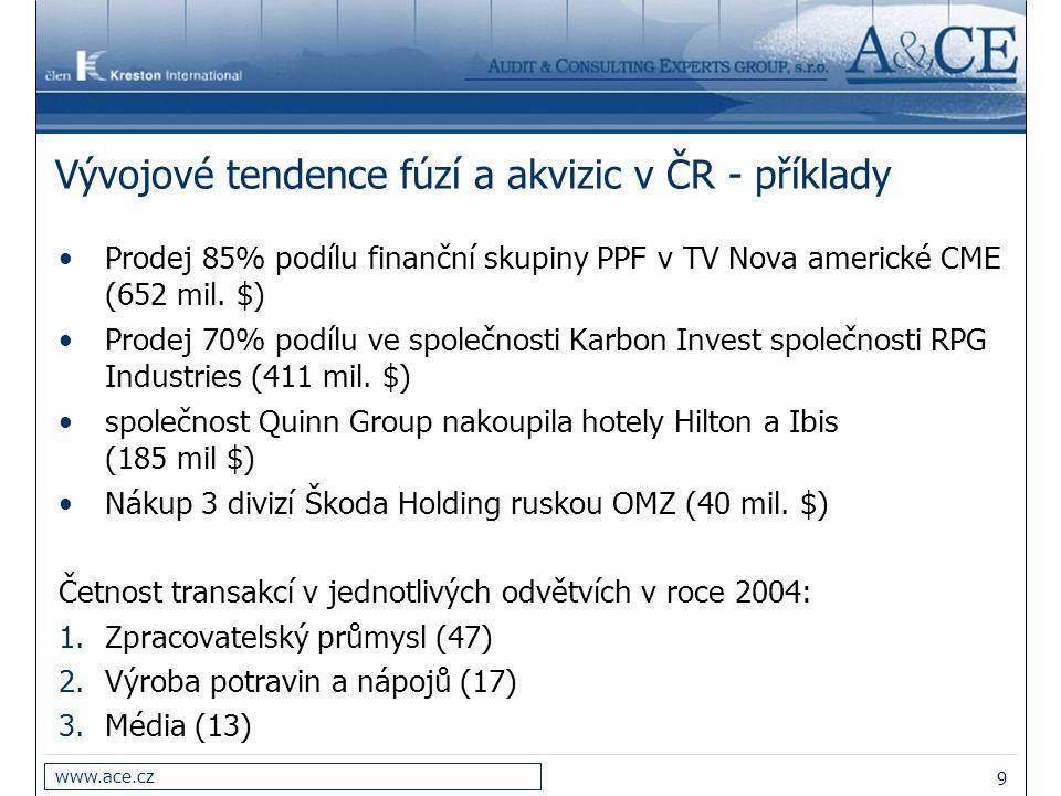 Vývojové tendence fúzí a akvizic v ČR - příklady