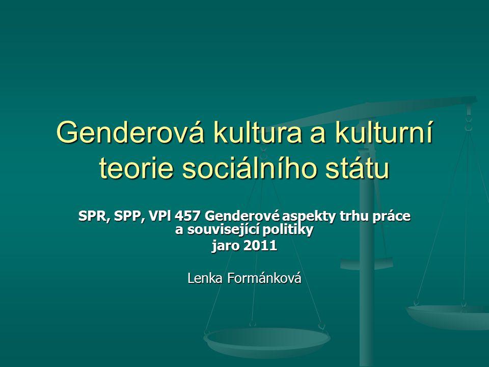 Genderová kultura a kulturní teorie sociálního státu