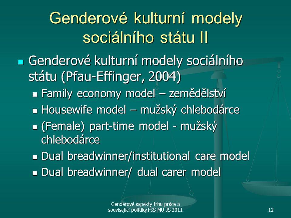 Genderové kulturní modely sociálního státu II