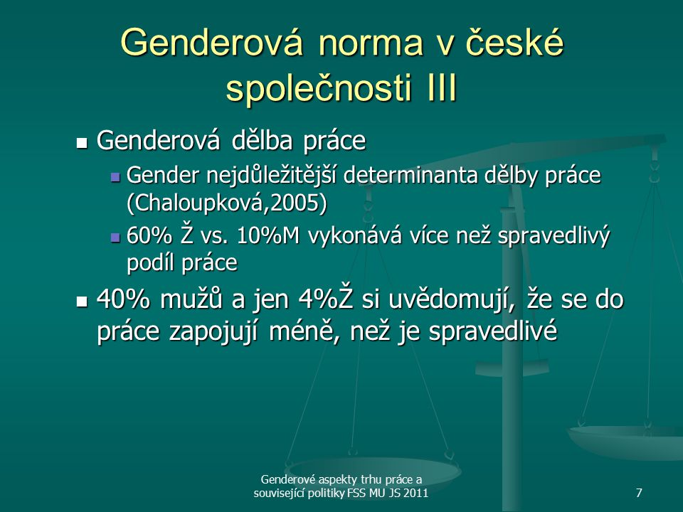 Genderová norma v české společnosti III
