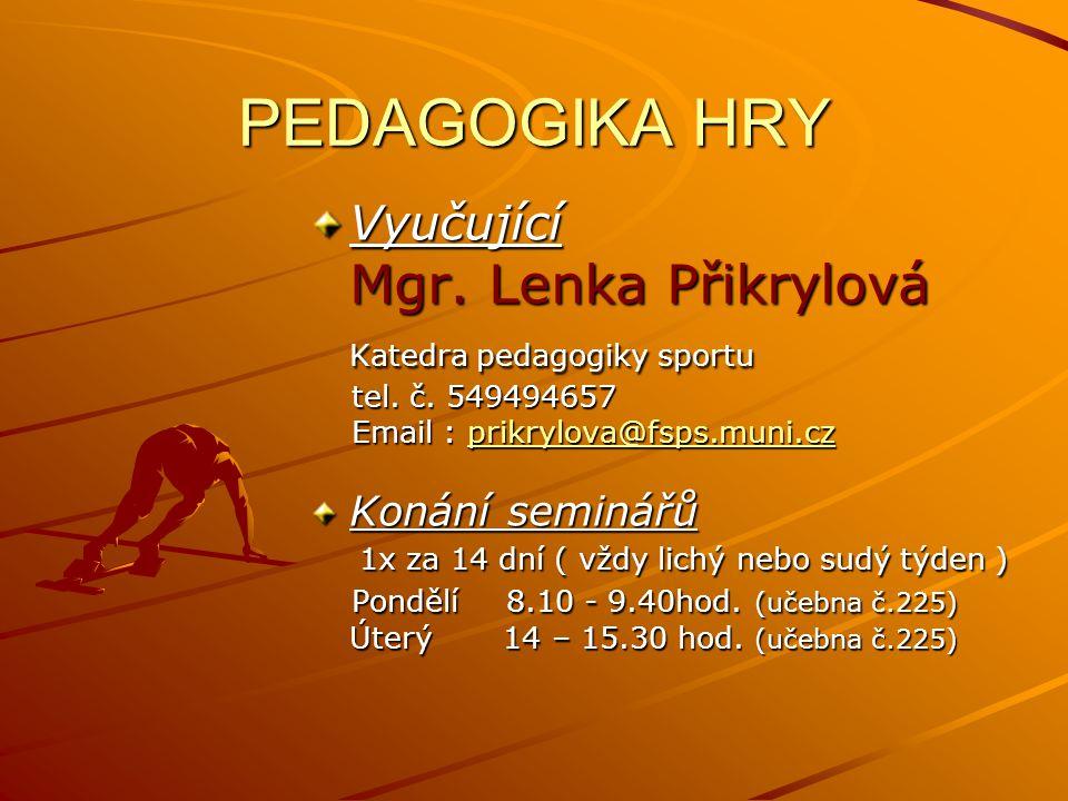 PEDAGOGIKA HRY Mgr. Lenka Přikrylová Katedra pedagogiky sportu